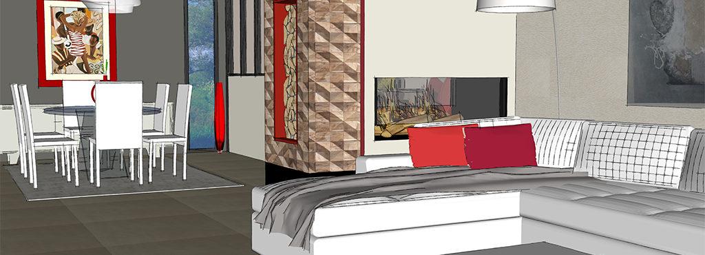 Agencement salon, Décoration salon, Intégrer du rouge dans la décoration, Dynamiser son intérieur, Bouc Bel Air, Aix en Provence, par Viviane Bedos, Décoratrice UFDI à Rognac (13)